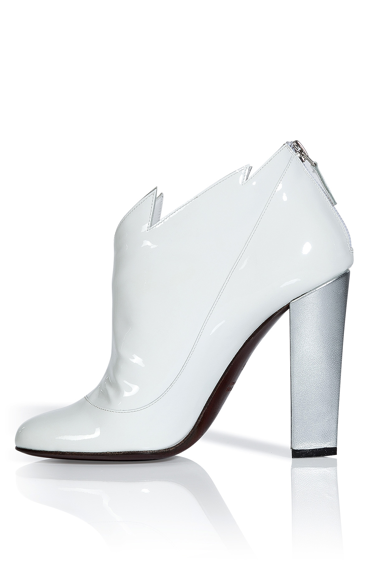 105c846e5a7 Laurence Dacade White And Silver Patent Leather Booties in White - Lyst