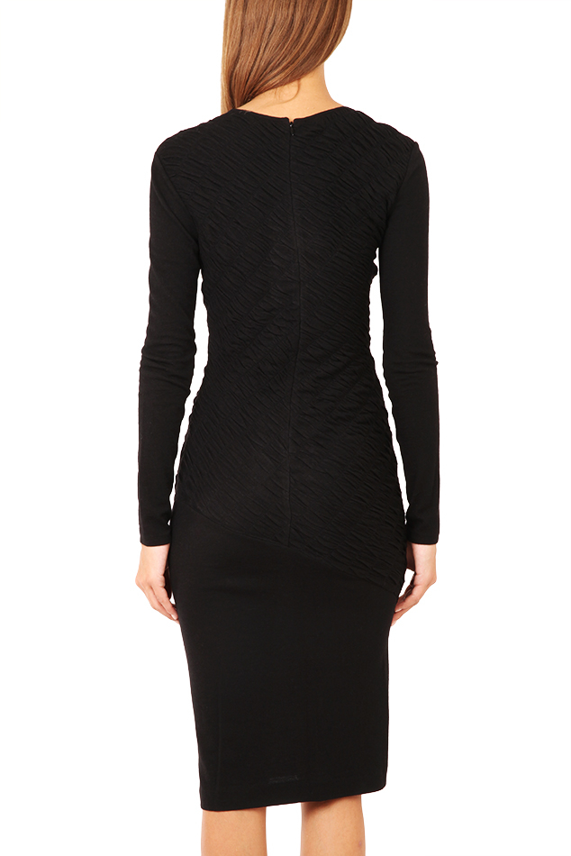 10 crosby derek lam long sleeve ruched dress in black lyst for Derek lam 10 crosby shirt dress