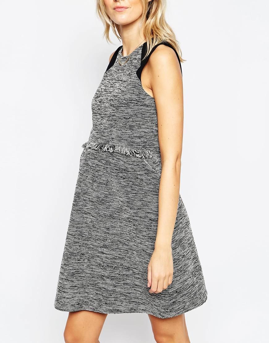 af4c430130e30 Lyst - Asos Skater Dress In Tweed With Fringe Trim in Gray