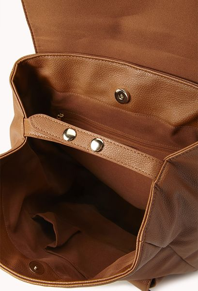 Brown Faux Leather Backpack Leather Backpack in Brown