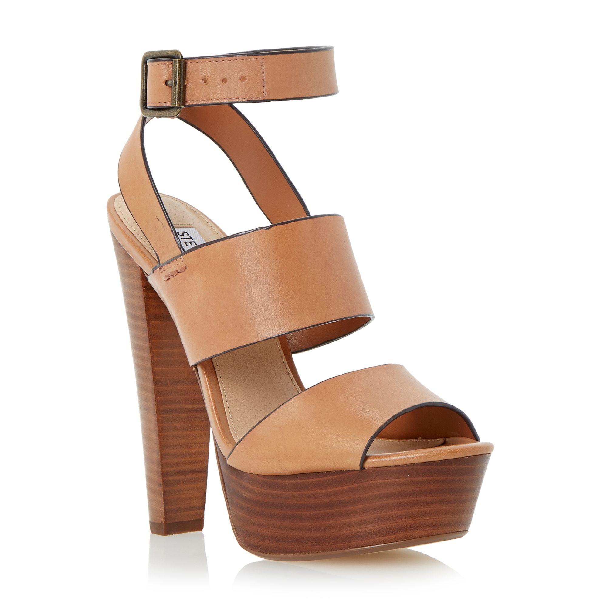 steve madden dezzzy platform heel leather sandals in brown. Black Bedroom Furniture Sets. Home Design Ideas