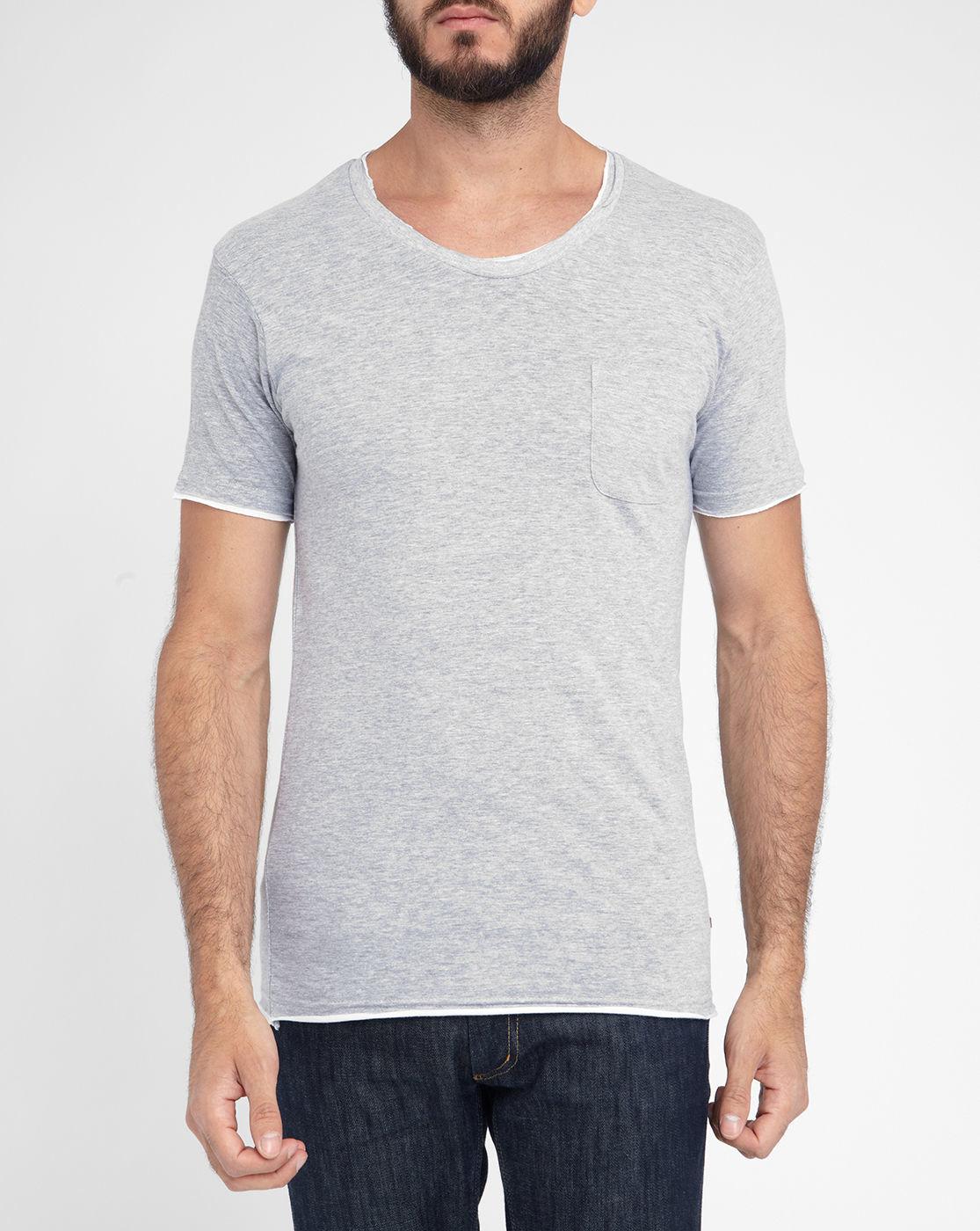 eleven paris mottled grey batrak double collar pocket t shirt in gray for men lyst. Black Bedroom Furniture Sets. Home Design Ideas