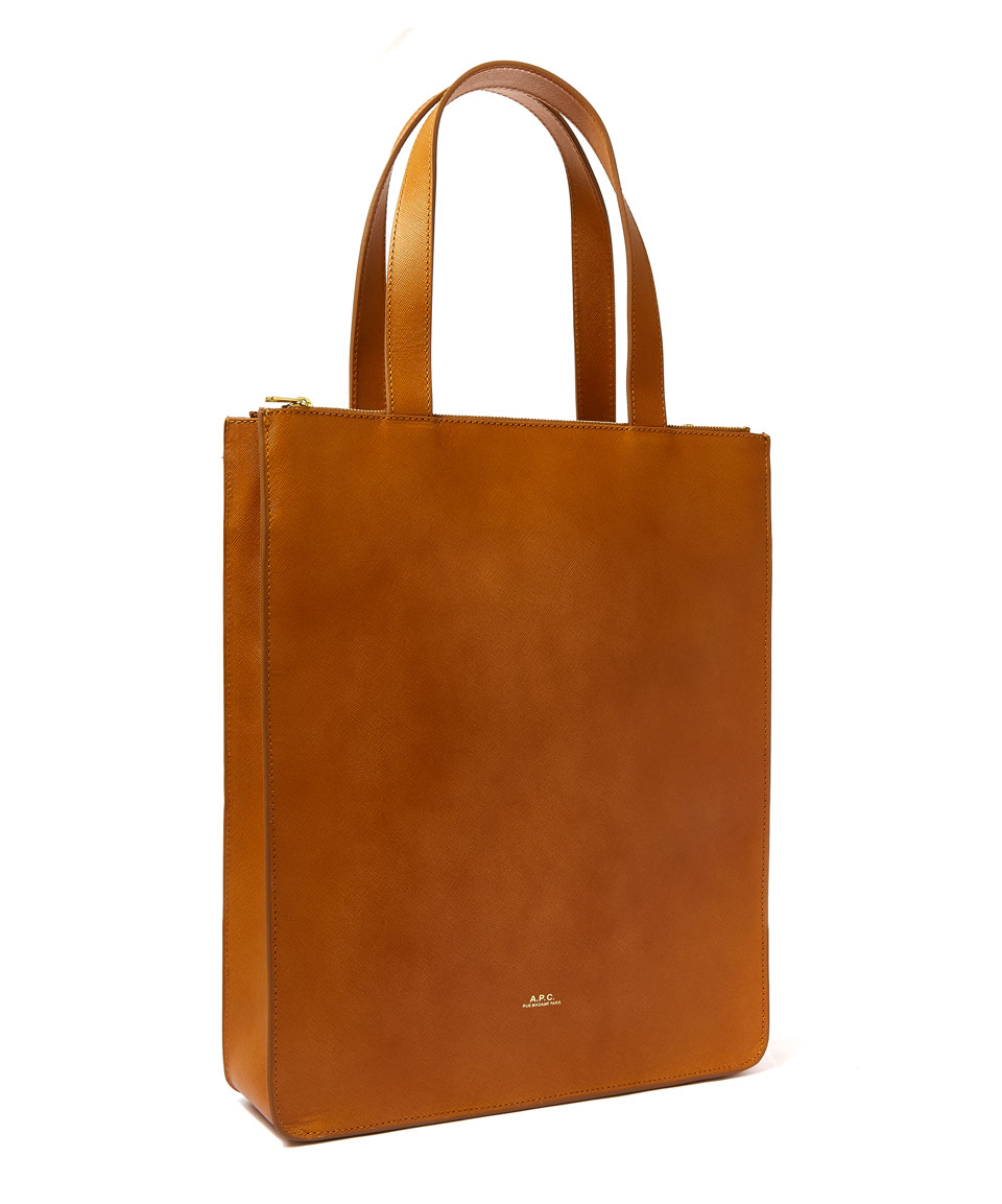 lyst a p c camel leather tote bag in orange. Black Bedroom Furniture Sets. Home Design Ideas