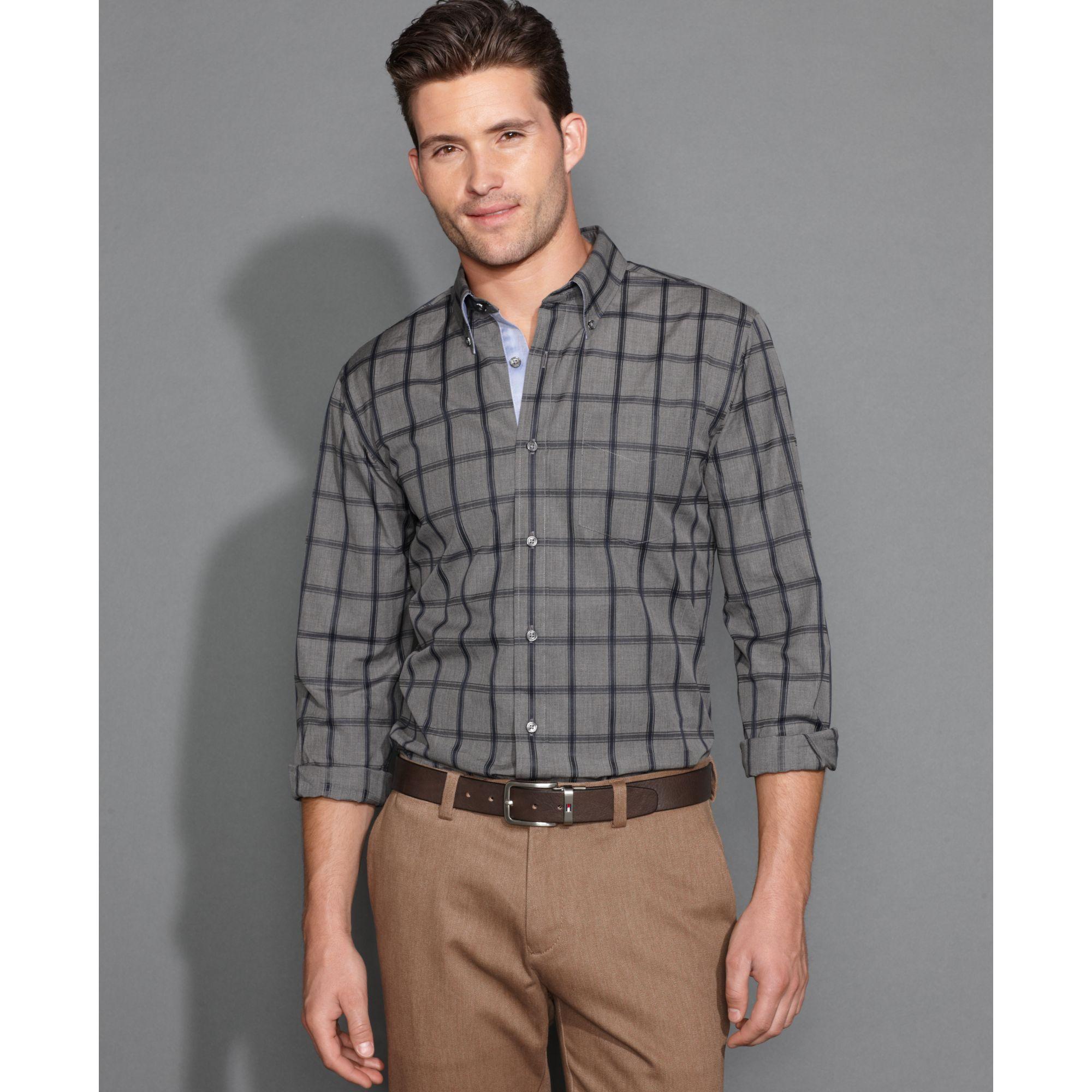 Tommy Hilfiger Long Sleeve Slim Fit Fenn Shirt In Gray For