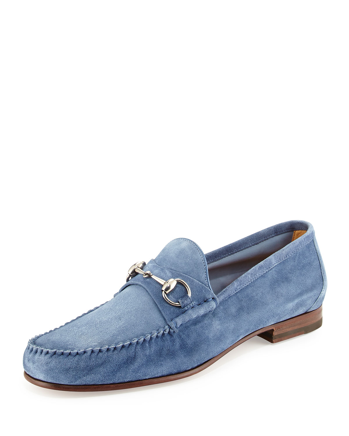90f2c9713a3 Lyst - Gucci Unlined Suede Horsebit Loafer in Blue for Men