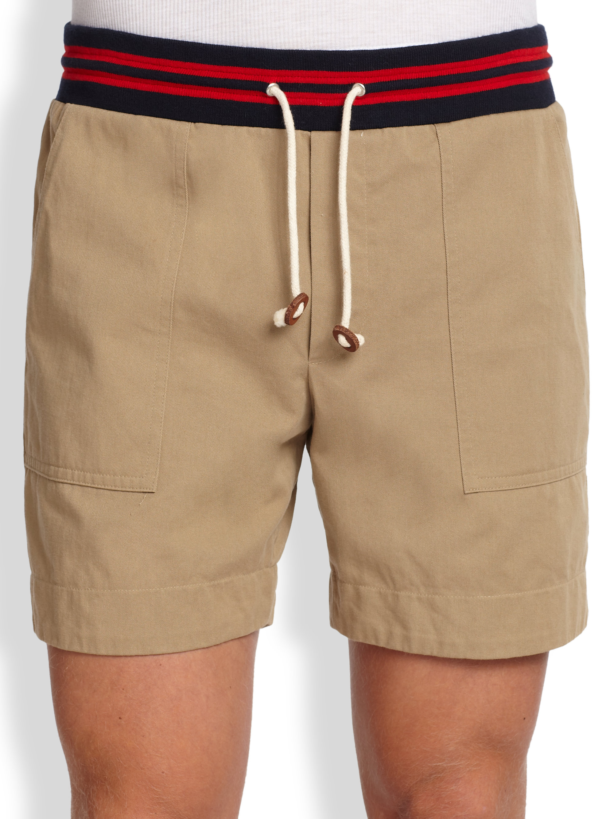 Band of outsiders Drawstring Chino Shorts in Natural for Men | Lyst