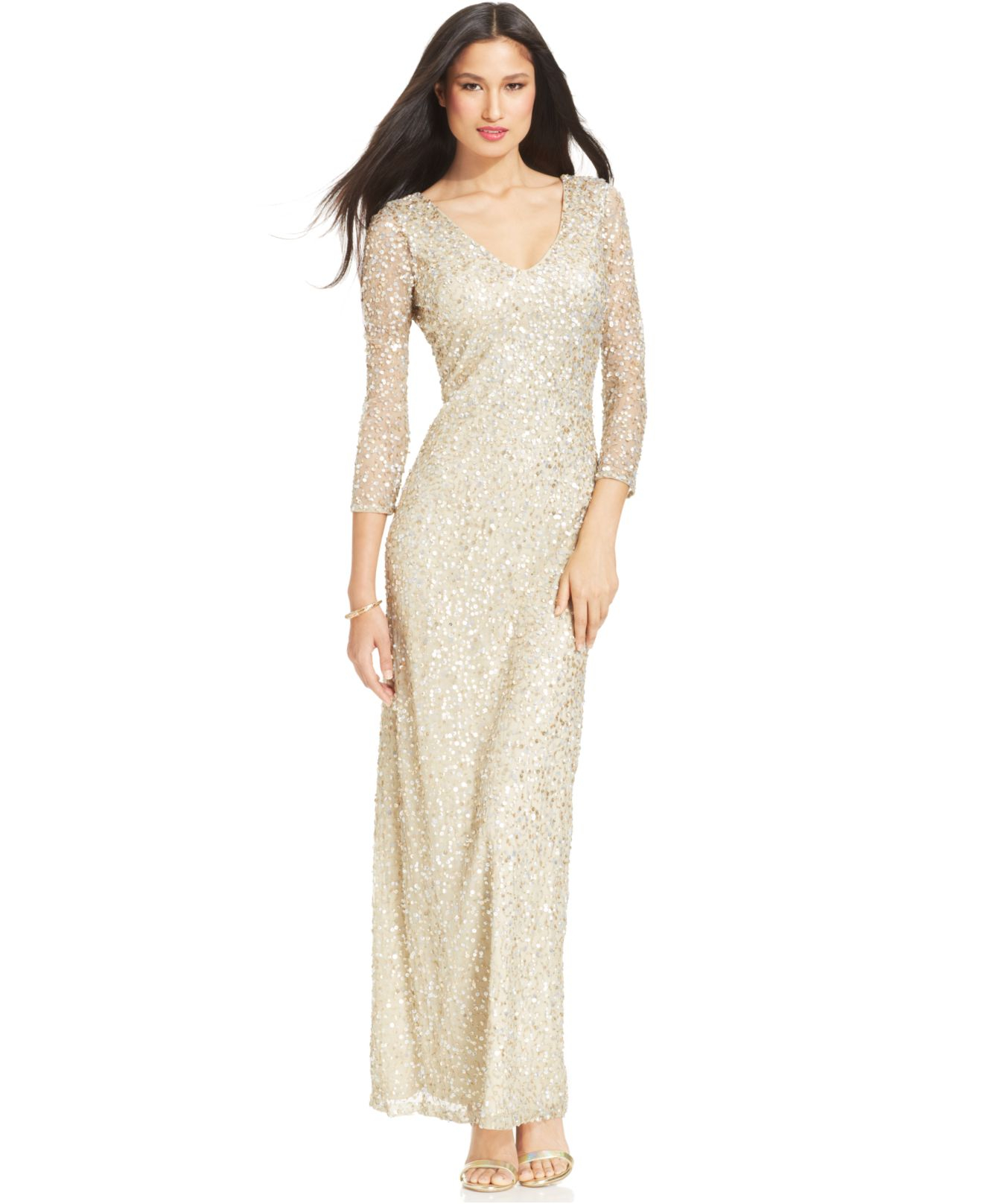 Lyst - Js Collections Three-Quarter-Sleeve Sequin Gown in Metallic