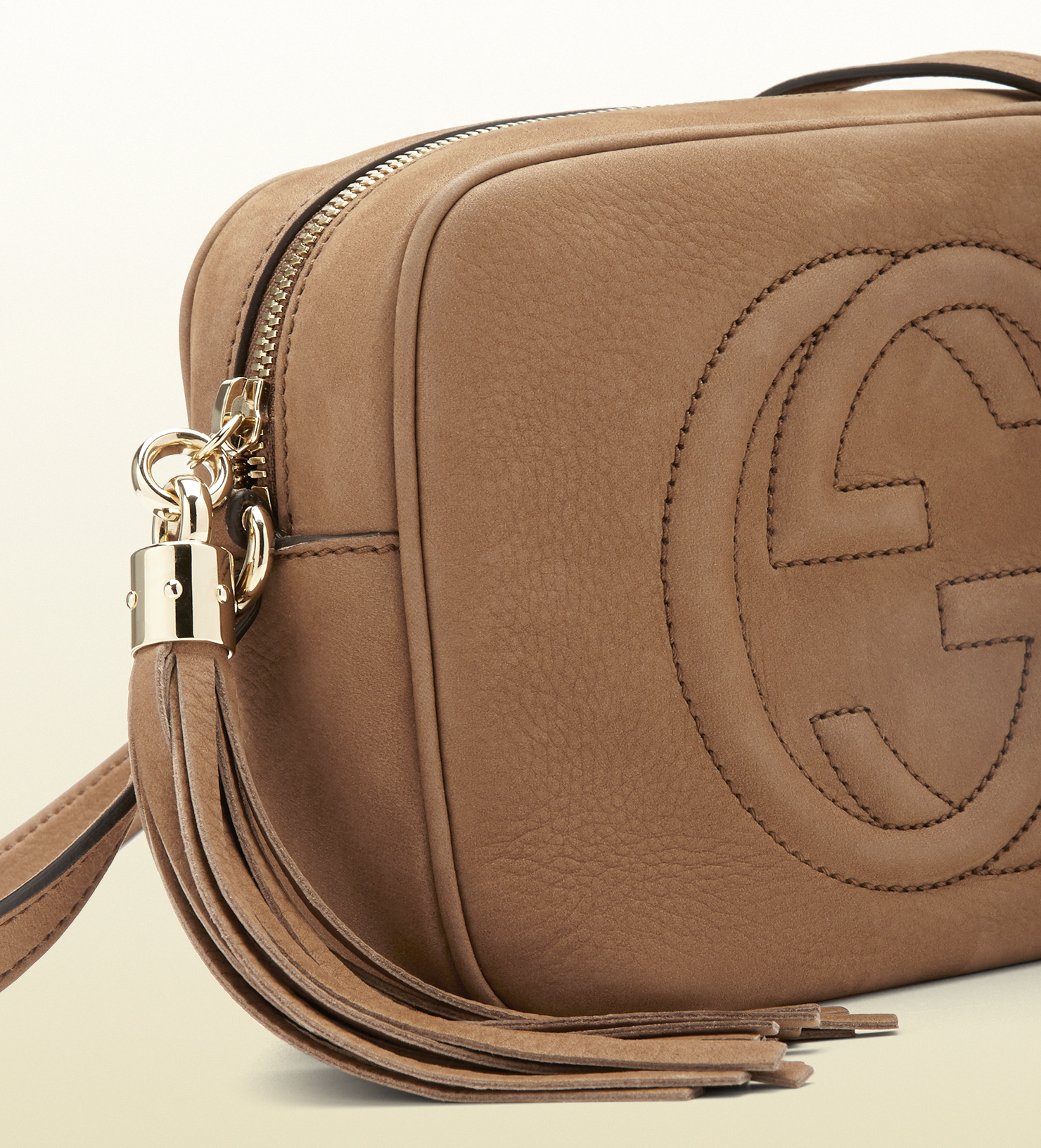 06d935e9730d9 Lyst - Gucci Soho Nubuck Leather Disco Bag in Brown