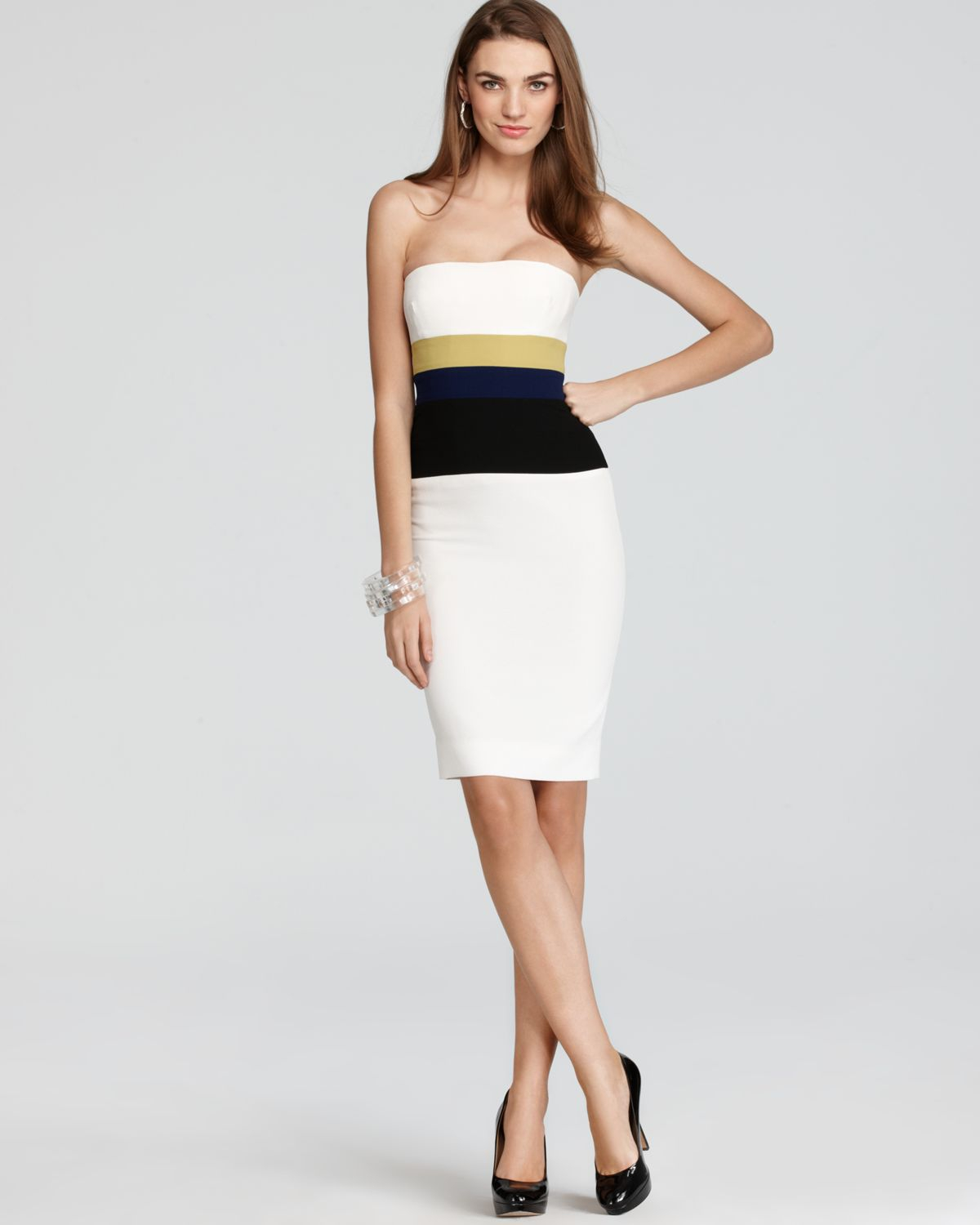 Bcbgmaxazria Strapless Dress - Color Block in White  Lyst