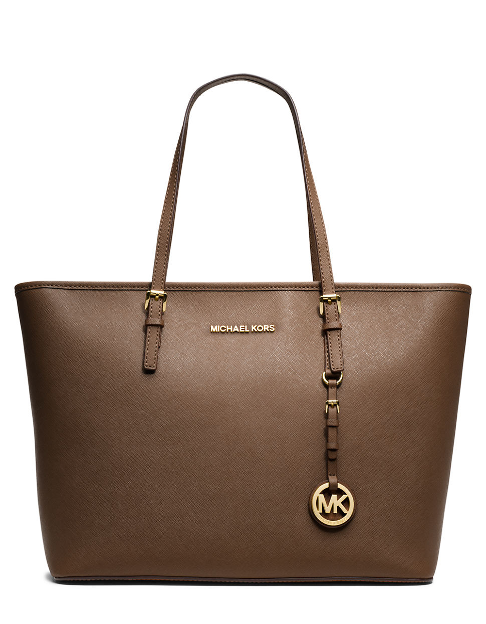 michael michael kors brown jet set leather travel tote. Black Bedroom Furniture Sets. Home Design Ideas