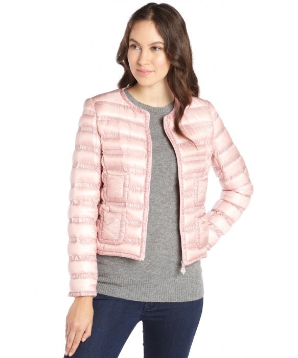Lyst Moncler Pink Woven Box Quilted Down Filled Lissy