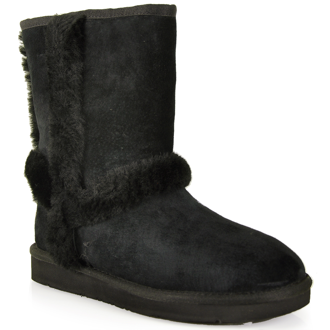 Ugg Suede Shearling Boot In Black Lyst