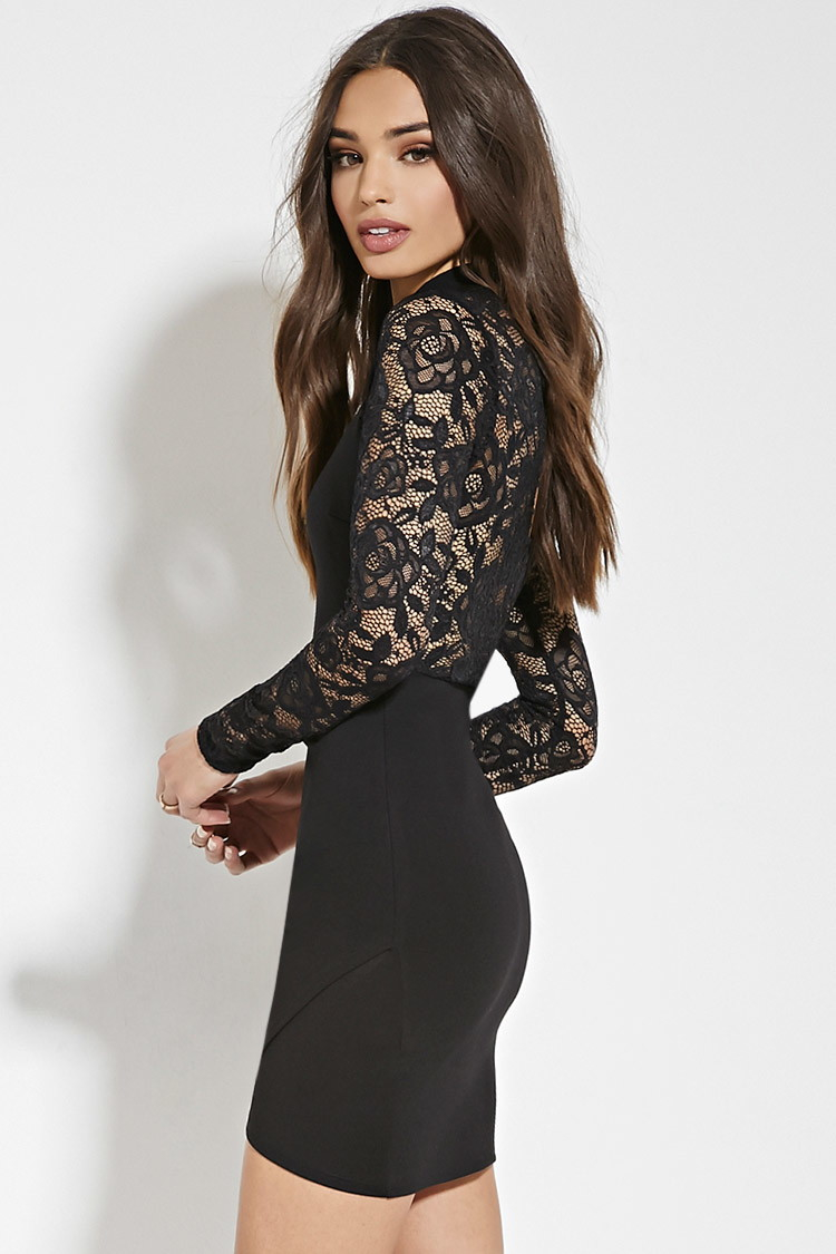 c568ee4765 Floral Lace Bodycon Dress Forever 21