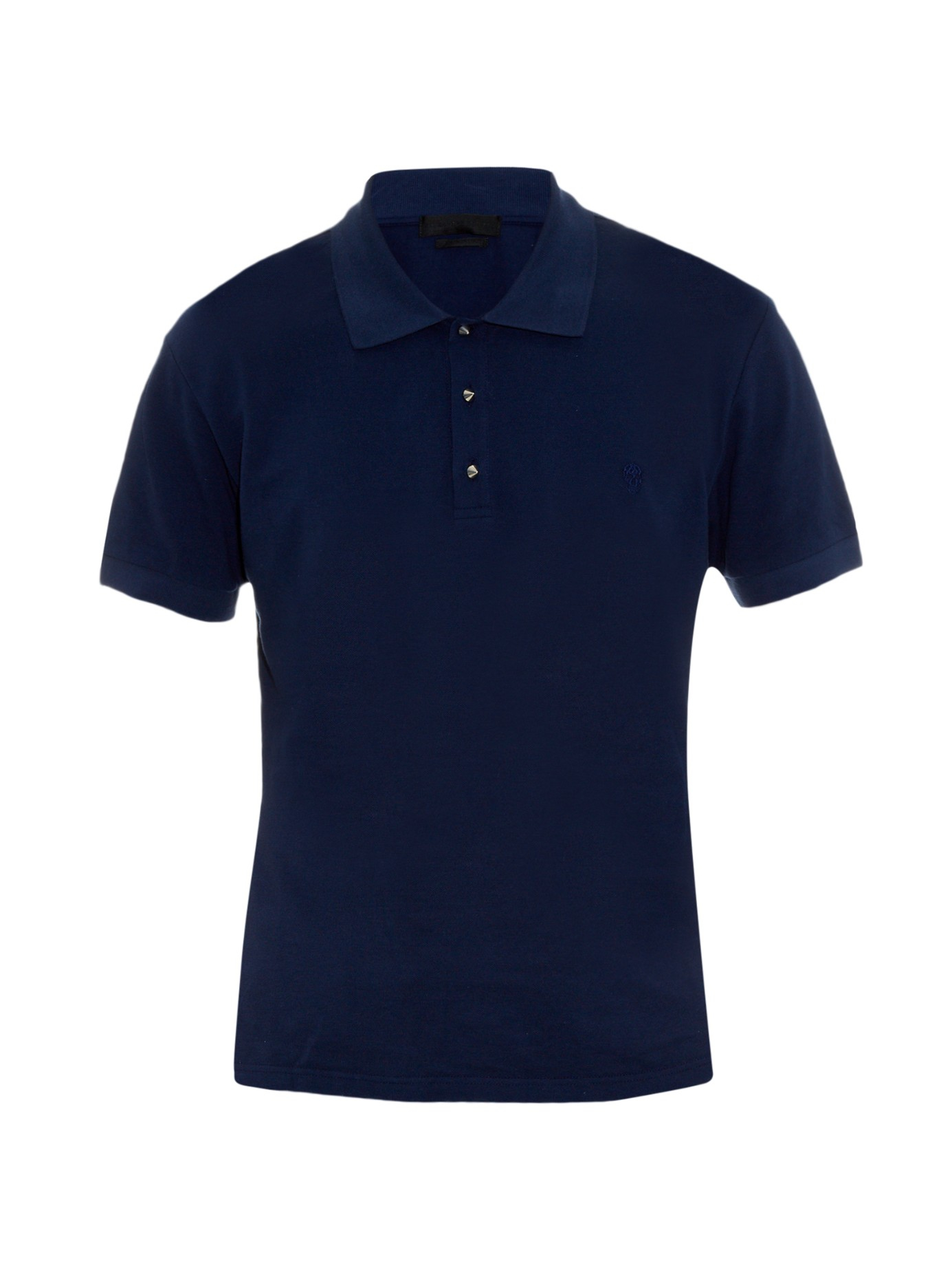 Alexander mcqueen studded cotton piqu polo shirt in blue for Cotton polo shirts with logo
