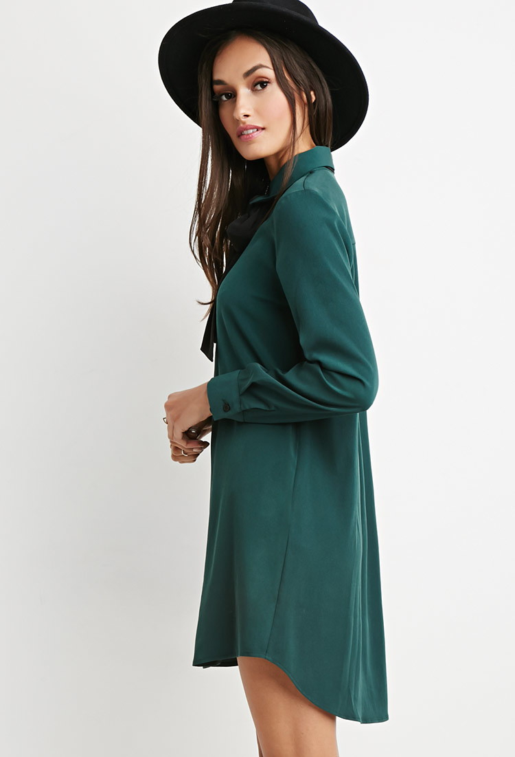 Lyst Forever 21 Self Tie Neck Shirt Dress In Green