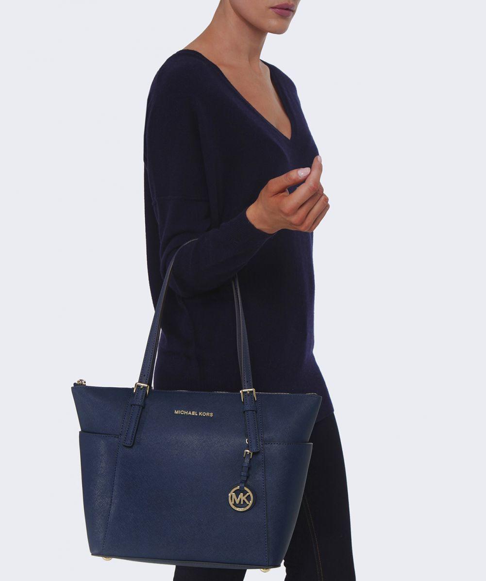 5658df45b69f MICHAEL Michael Kors Jet Set Travel Top Zip Tote Bag in Blue - Lyst