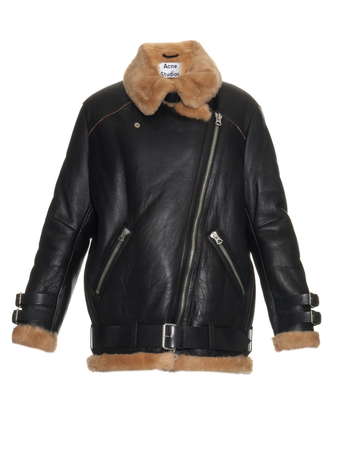 Lyst Acne Studios Velocite Shearling Aviator Jacket In Black