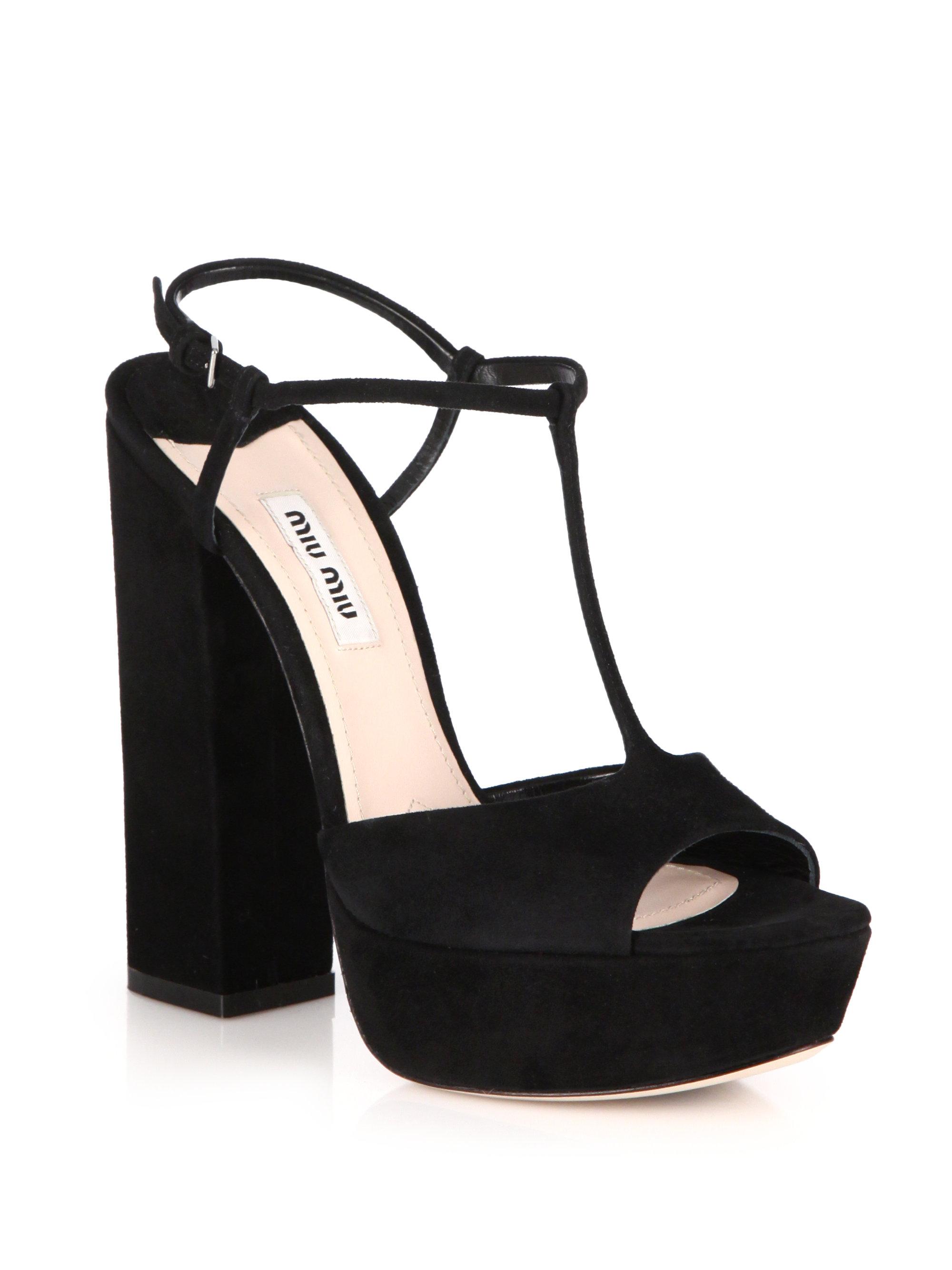 91da2c20c Lyst - Miu Miu Suede Platform Sandals in Black