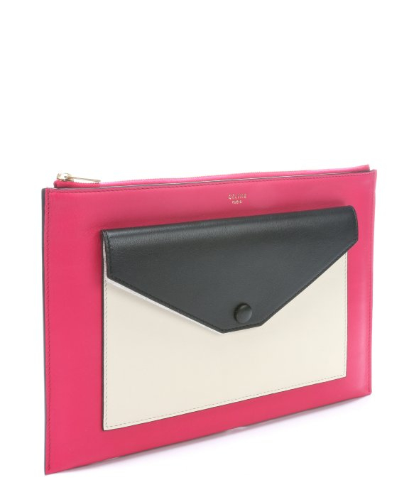 C¨¦line Fushia Leather Flap Pocket Clutch in Pink | Lyst