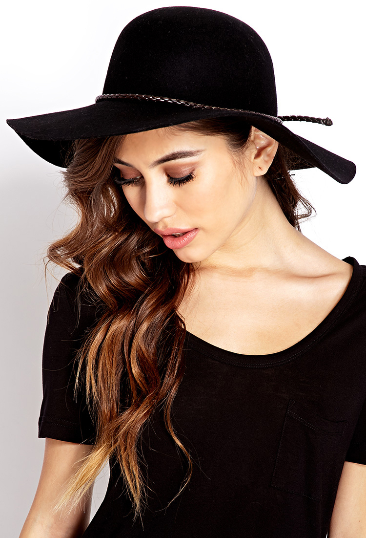 Lyst - Forever 21 Posh Wool Wide-Brim Hat in Black 28be81c886f