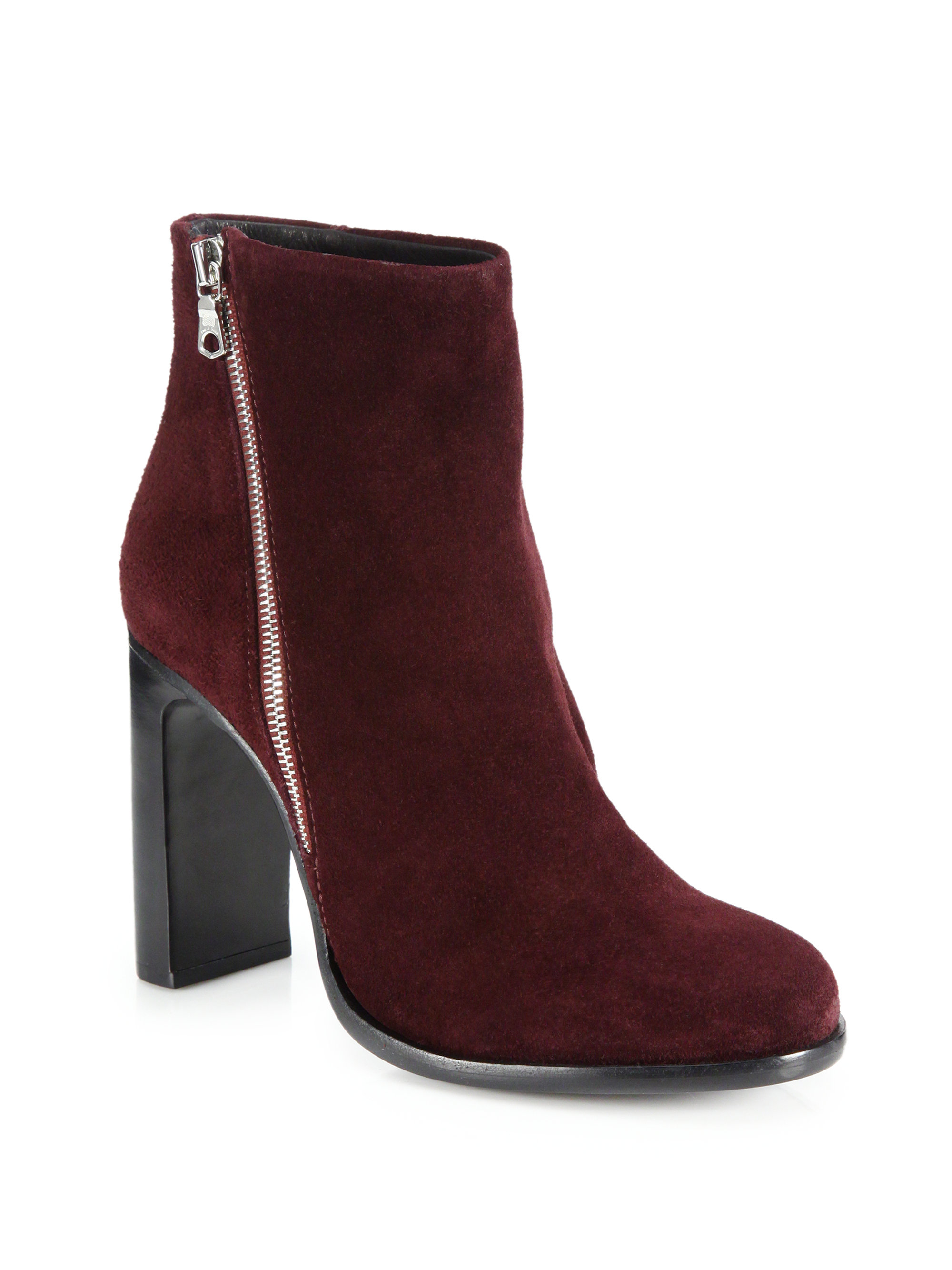 rag bone avery suede high heel booties in purple bordeaux lyst. Black Bedroom Furniture Sets. Home Design Ideas