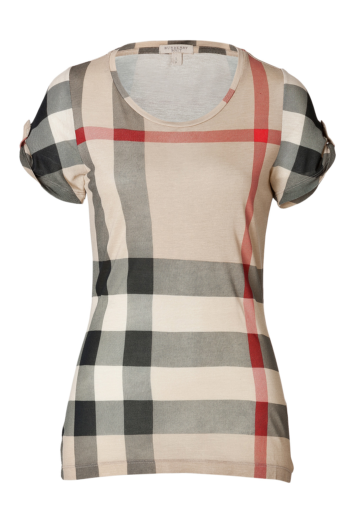 Burberry brit giant check short sleeve t shirt in new for Where are burberry shirts made
