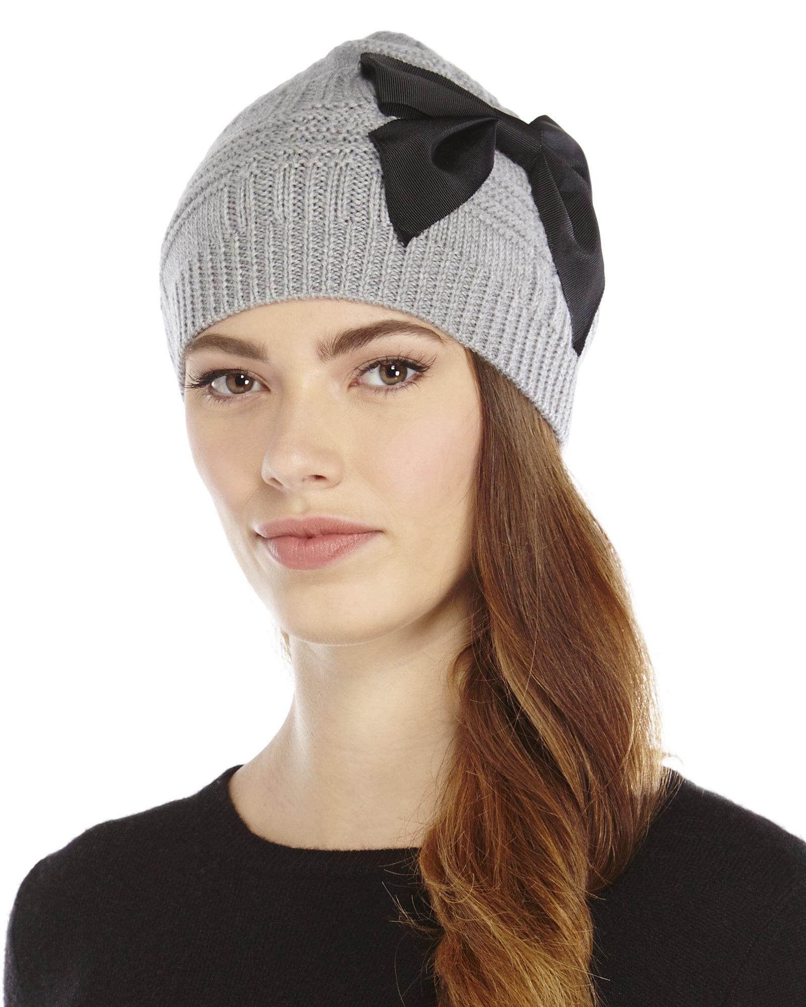 Lyst - Kate Spade Plaid Stitch Bow Beanie in Gray 03d66cc5716