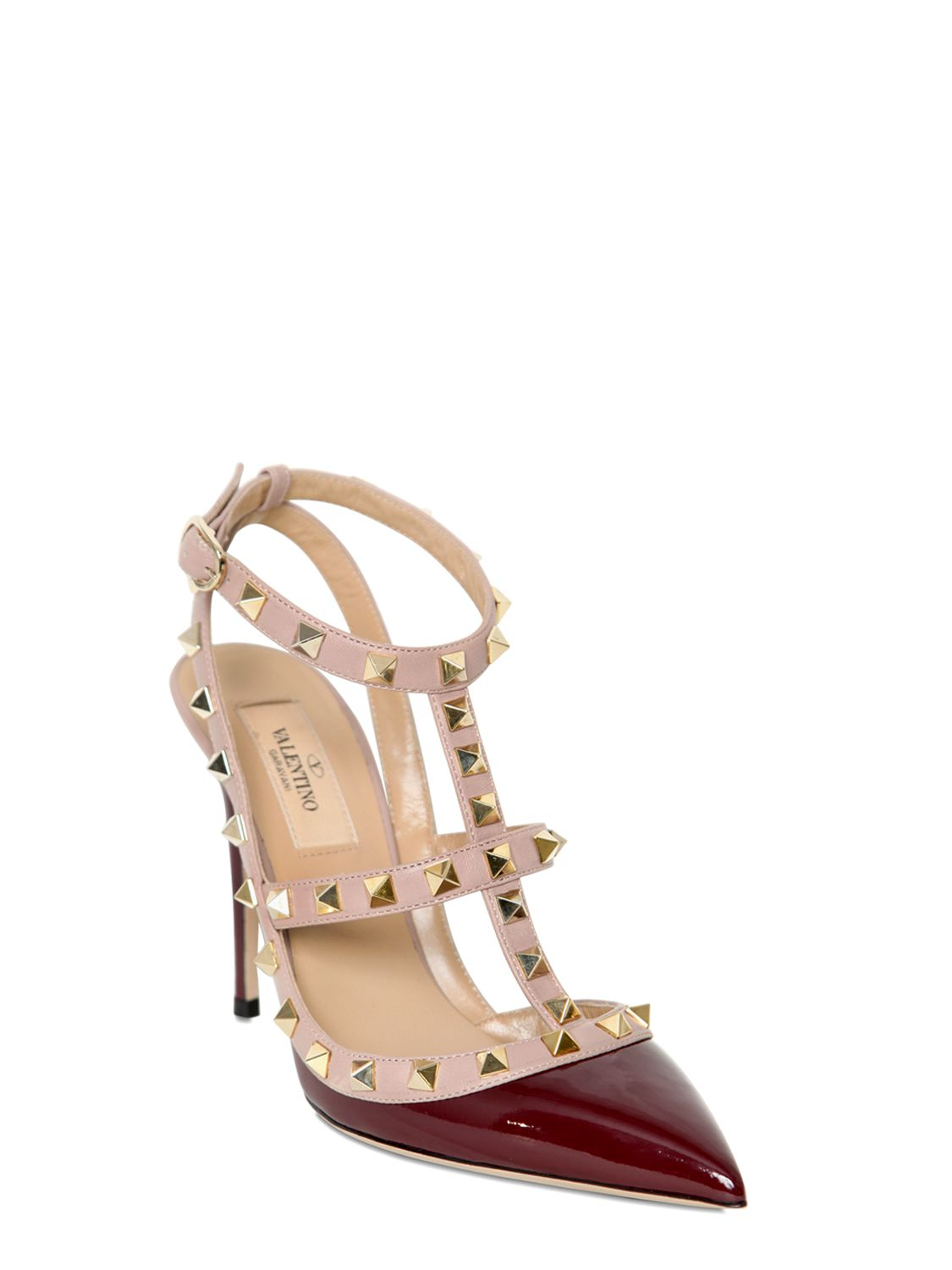 Valentino 100mm Rock Stud Patent Leather Pumps In Red Lyst