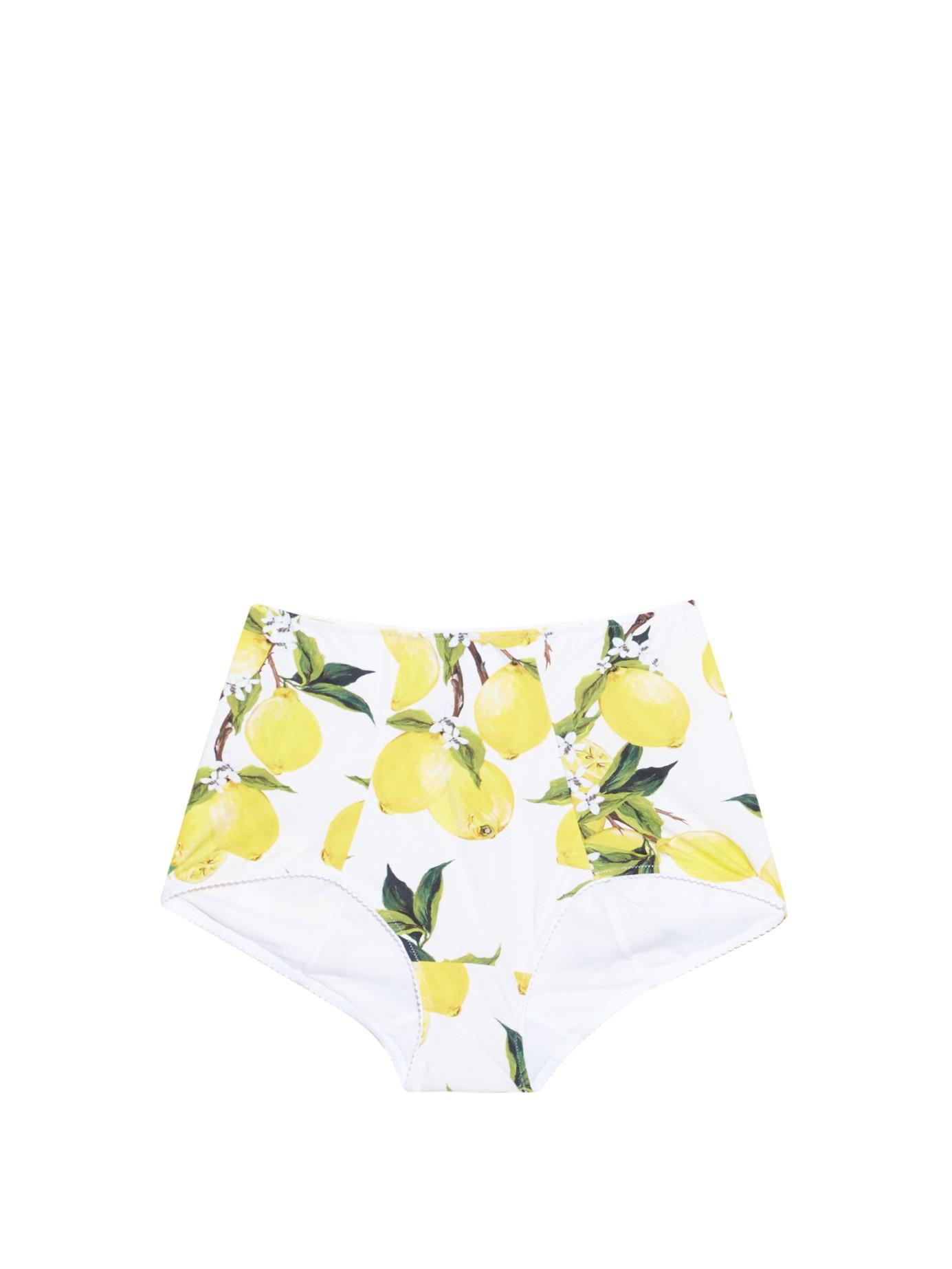 Lyst - Dolce   Gabbana Lemon-print High-waisted Bikini Briefs in Green 7c5cc58aafe