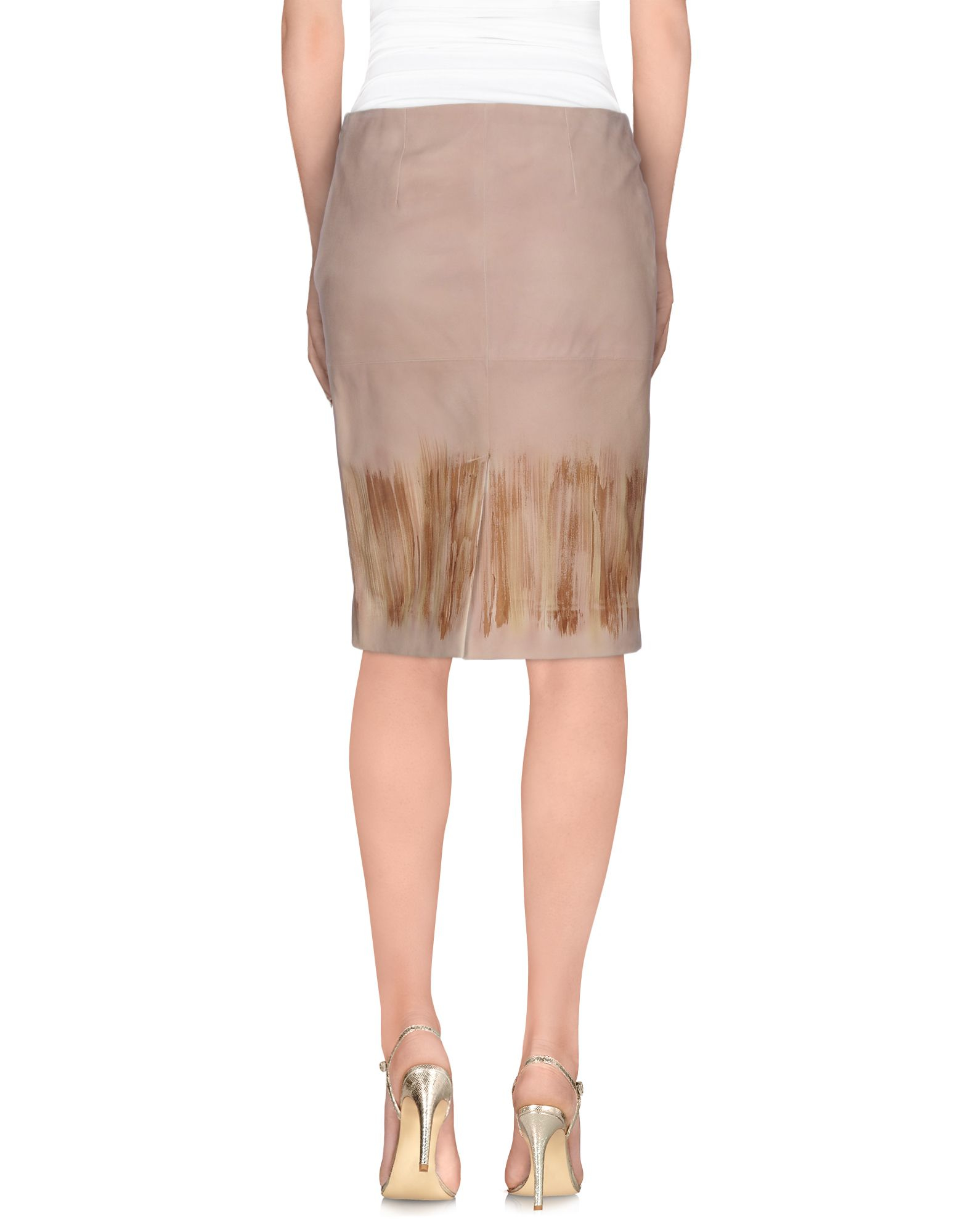 alberta ferretti knee length skirt in brown lyst