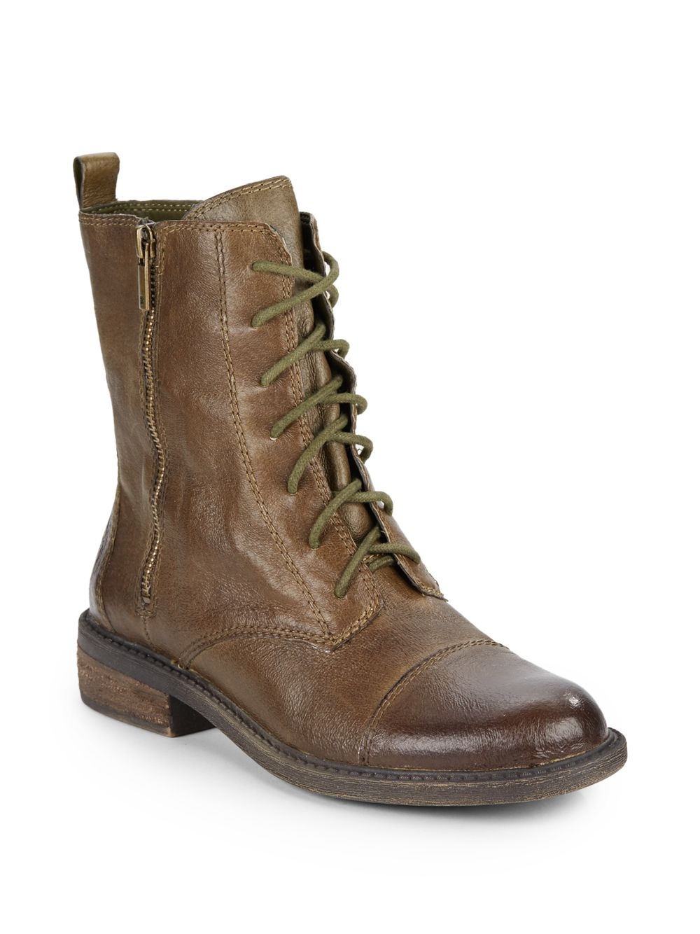 lucky brand nolina leather combat boots in green