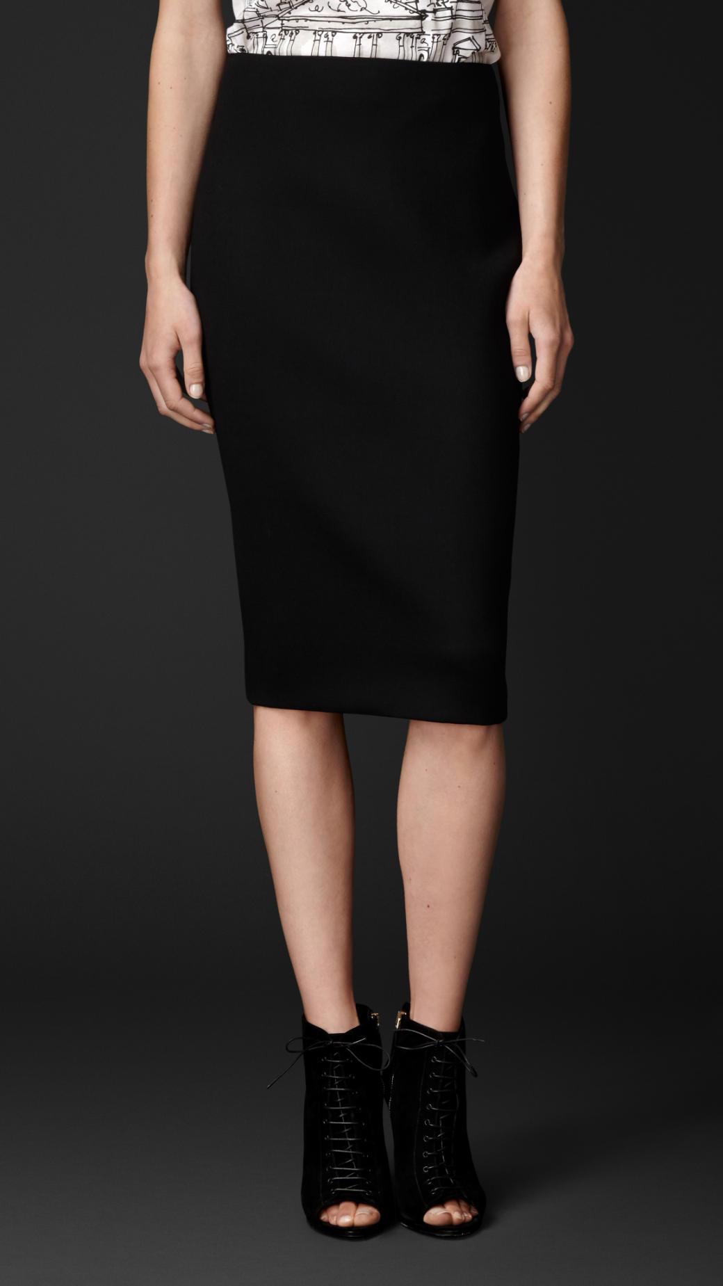 burberry stretch wool pencil skirt in black lyst