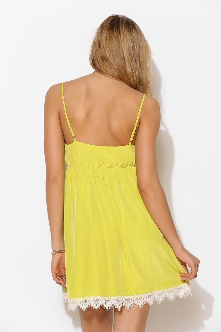 Lyst - Urban Outfitters Cope Lacetrim Surplice Slip Dress in Yellow 39ed2d4db