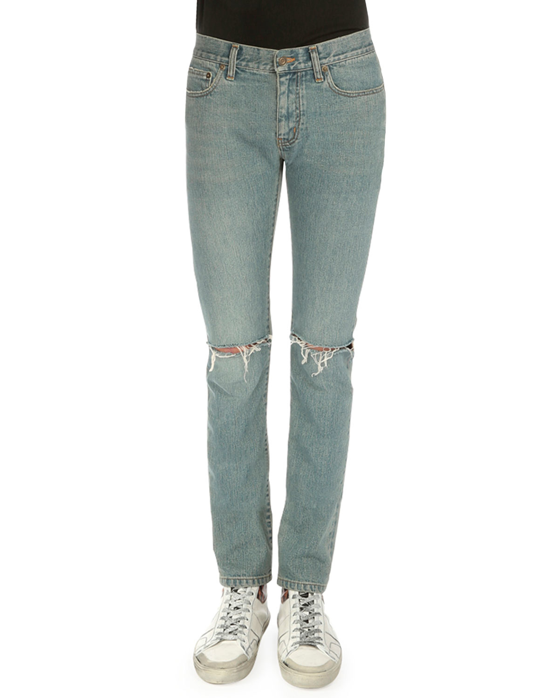Saint laurent Destroyed-knee Five-pocket Jeans in Blue for Men | Lyst
