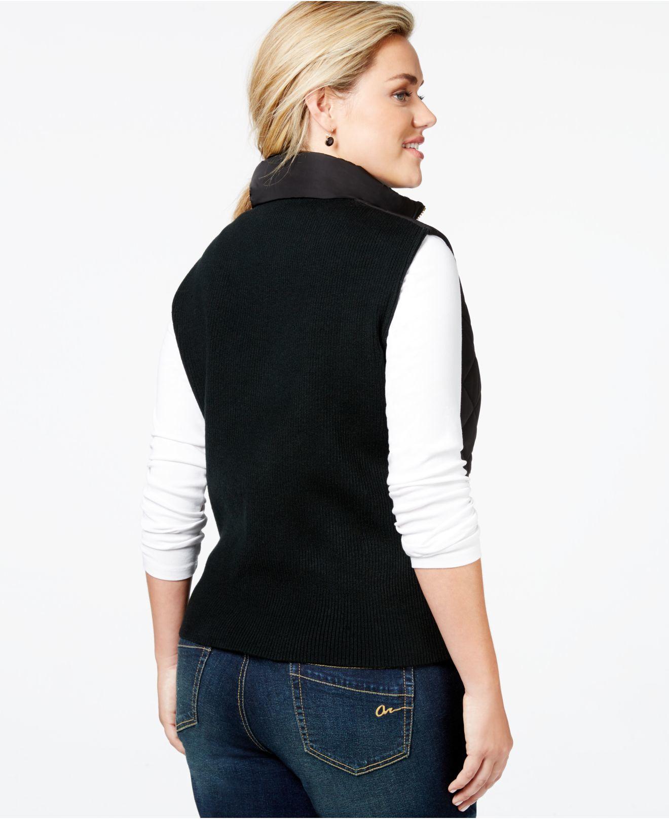 Calvin Klein Plus Size Quilted Vest In Black Lyst