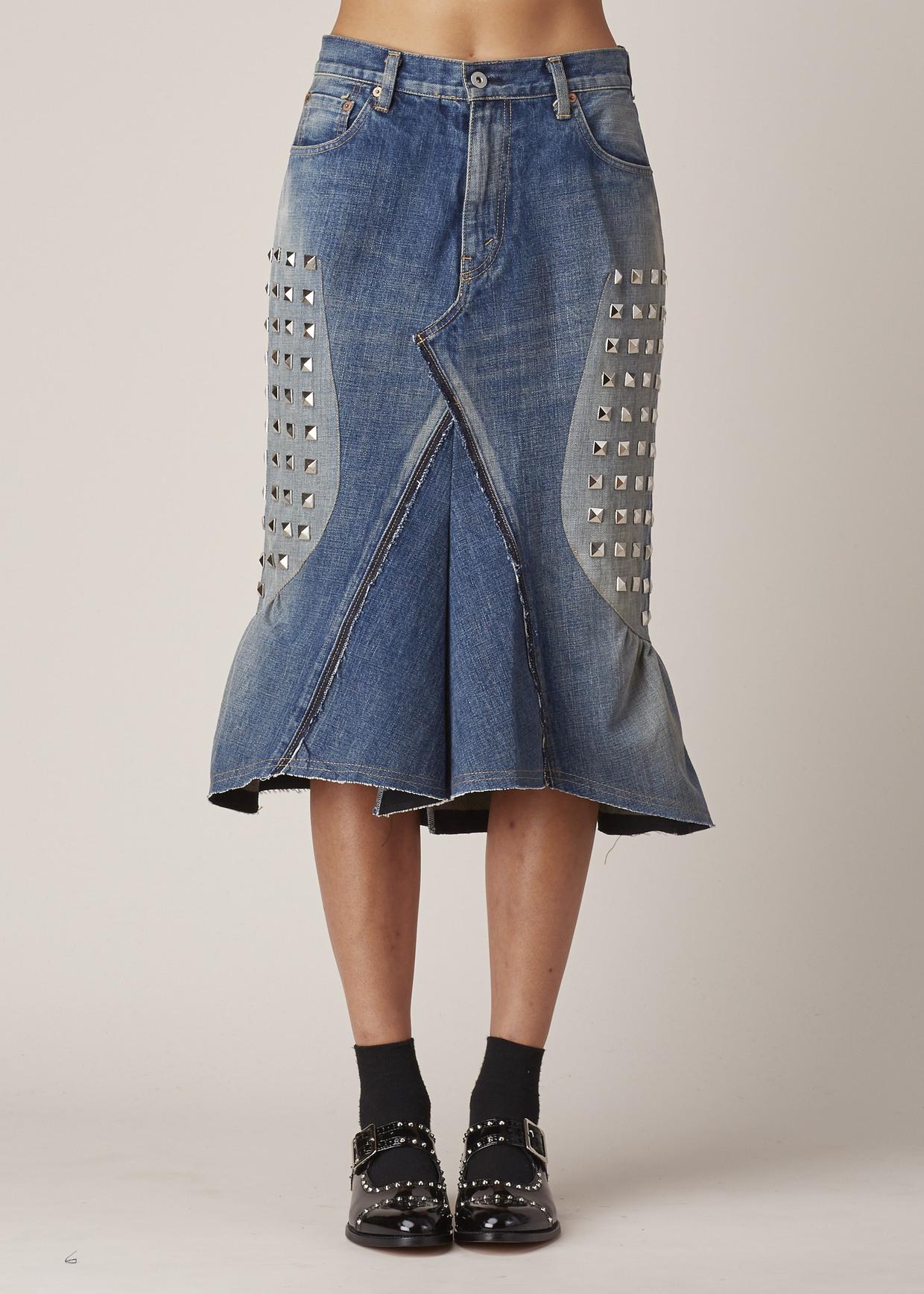 junya watanabe indigo studded denim skirt in blue lyst