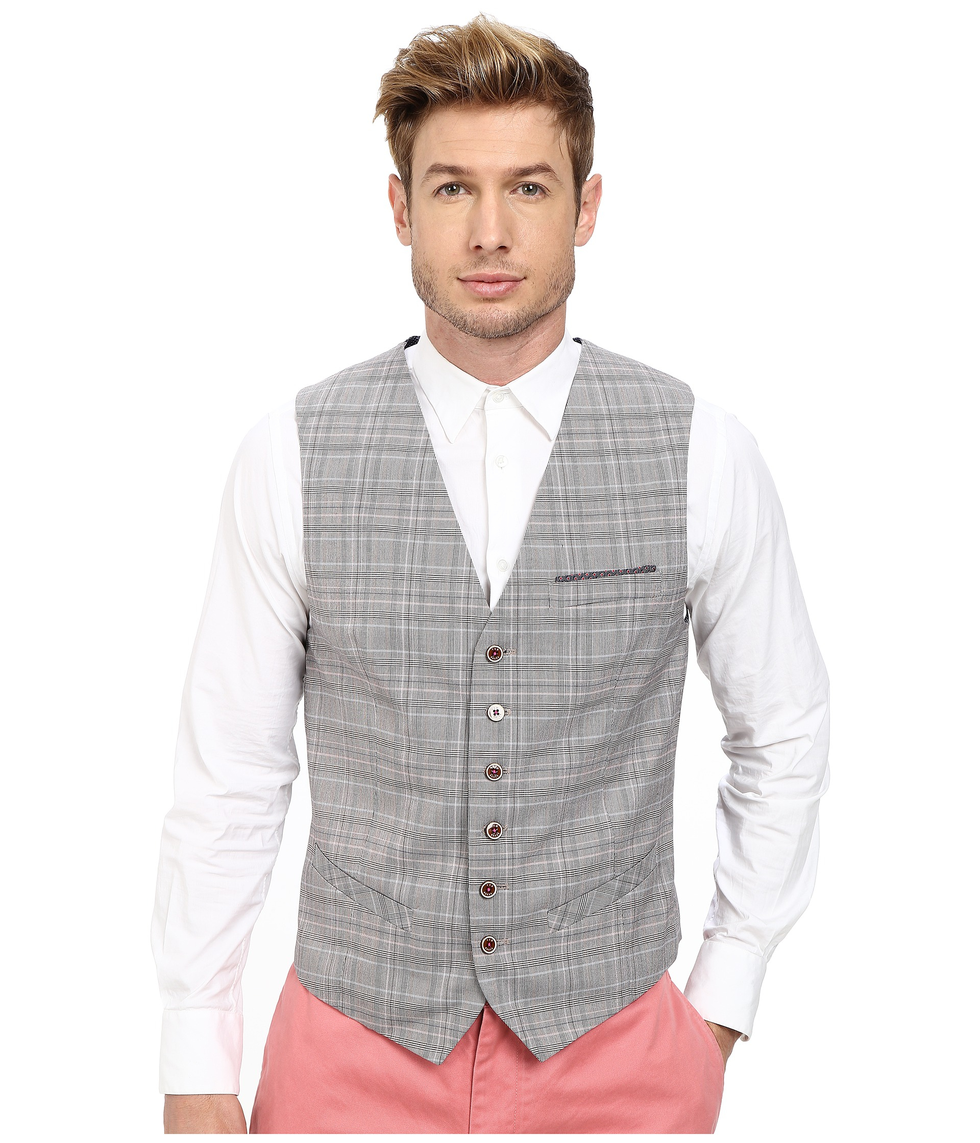 bcc72208c Lyst - Ted Baker Havwai Check Waistcoat in Gray for Men