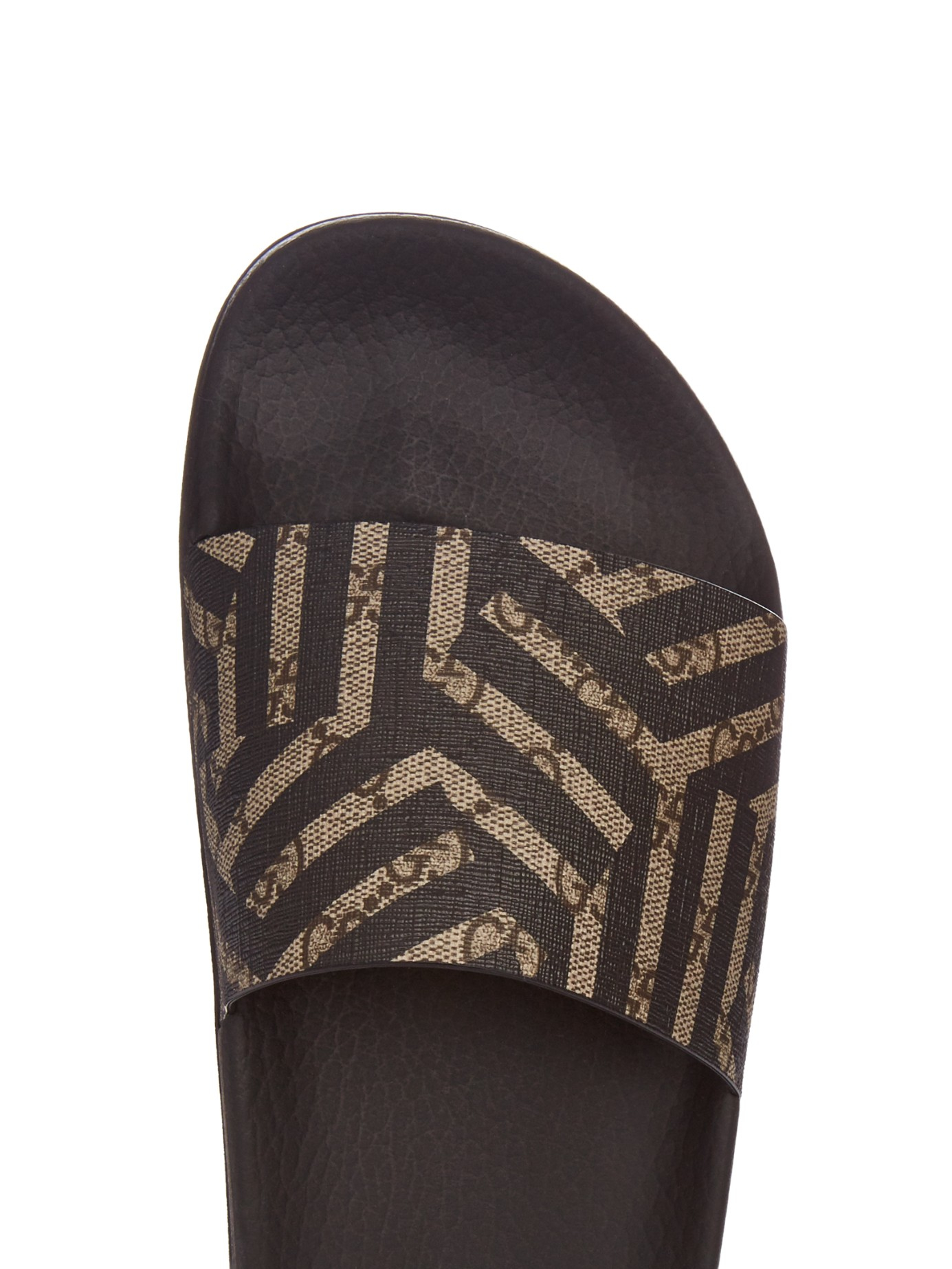 Lyst Gucci Caleido Print Pool Slides In Brown For Men