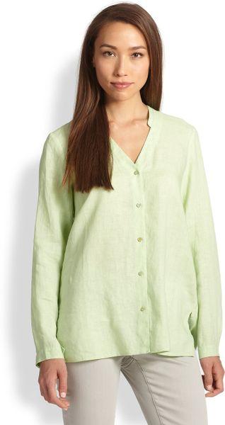 Eileen Fisher Linen Oversized Button Down Shirt In Green