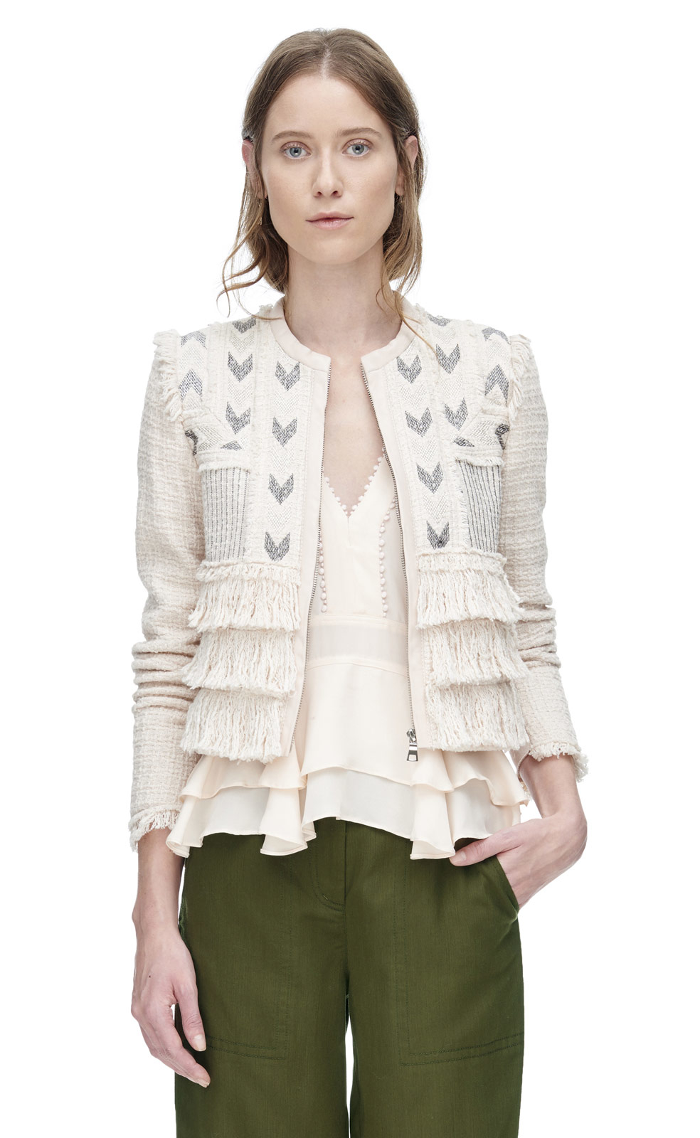 Rebecca Taylor Embroidered Tweed Jacket In White Lyst