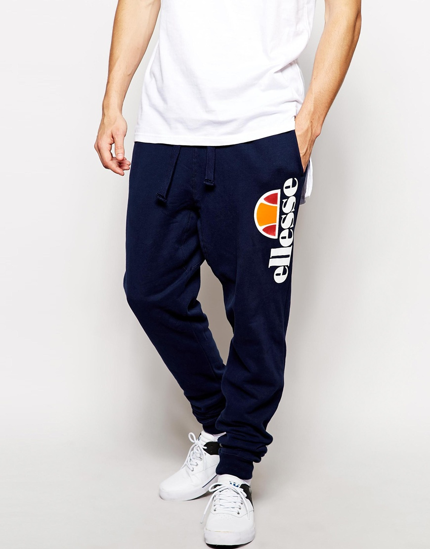 Lyst Ellesse Cuffed Joggers In Blue For Men