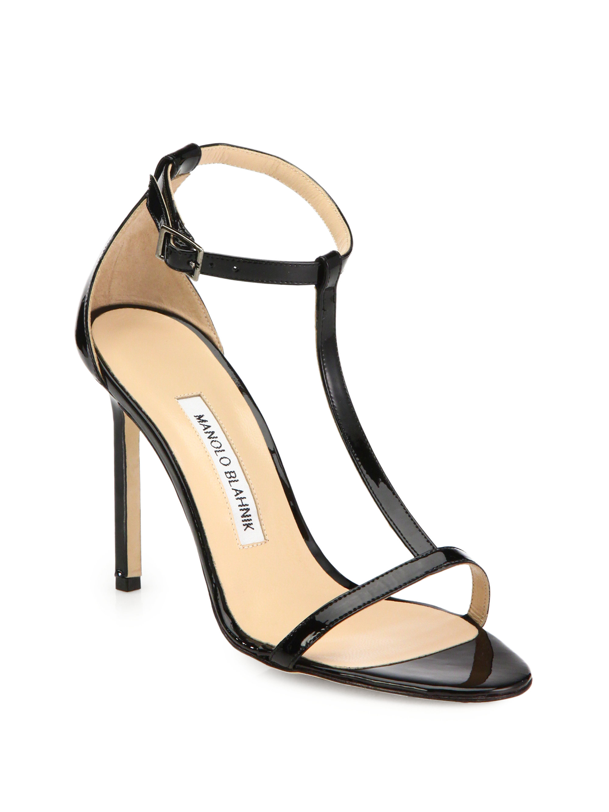 805d35e90e20 Lyst - Manolo Blahnik Spence Patent Leather T-Strap Sandals in Black