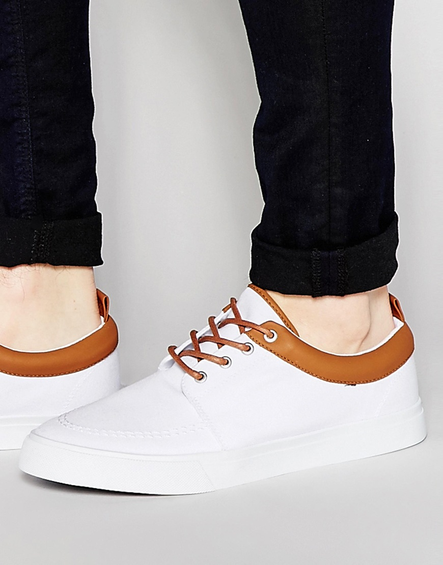 asos lace up plimsolls in white canvas in for