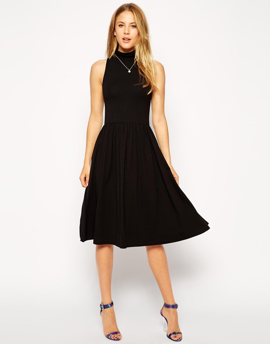 Asos Midi Skater Dress With Polo Neck And Cut Away Arm In