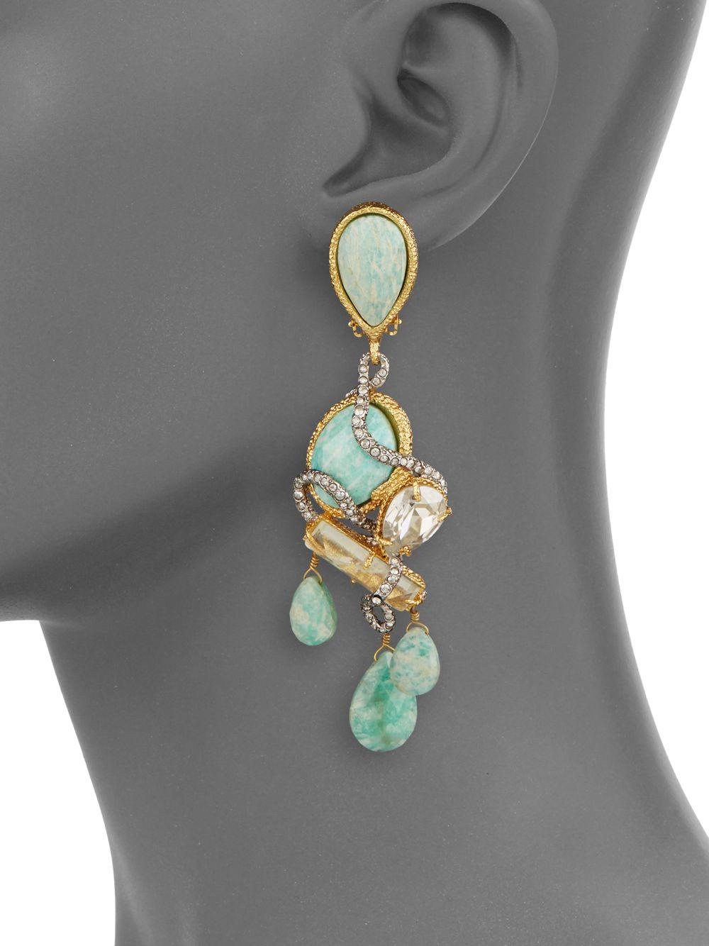 Alexis bittar Elements Aqua Crackle Glass Amazonite Crystal – Aqua Chandelier Earrings