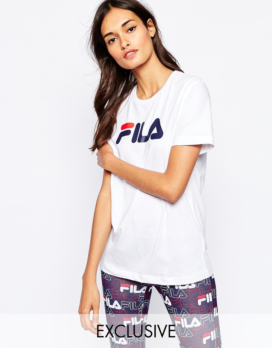 lyst fila oversized boyfriend t shirt with front logo in white. Black Bedroom Furniture Sets. Home Design Ideas