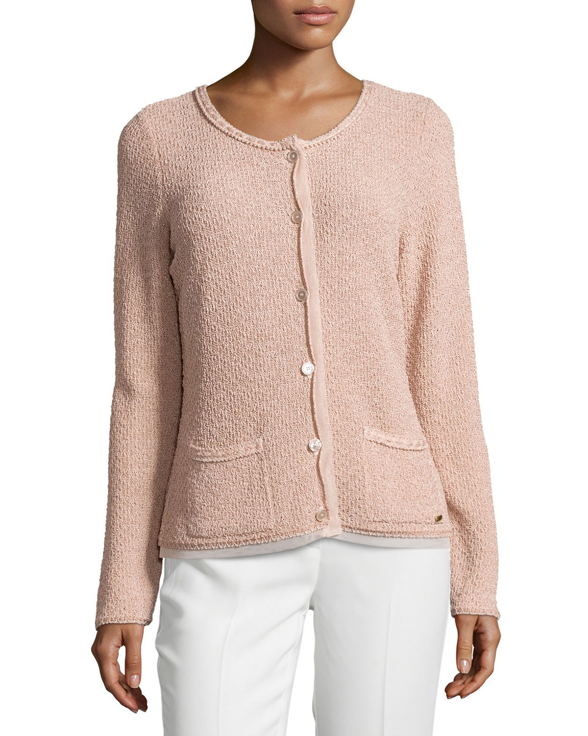 699f96518c Lyst - ESCADA Round-neck Long-sleeve Metallic Cardigan in Natural