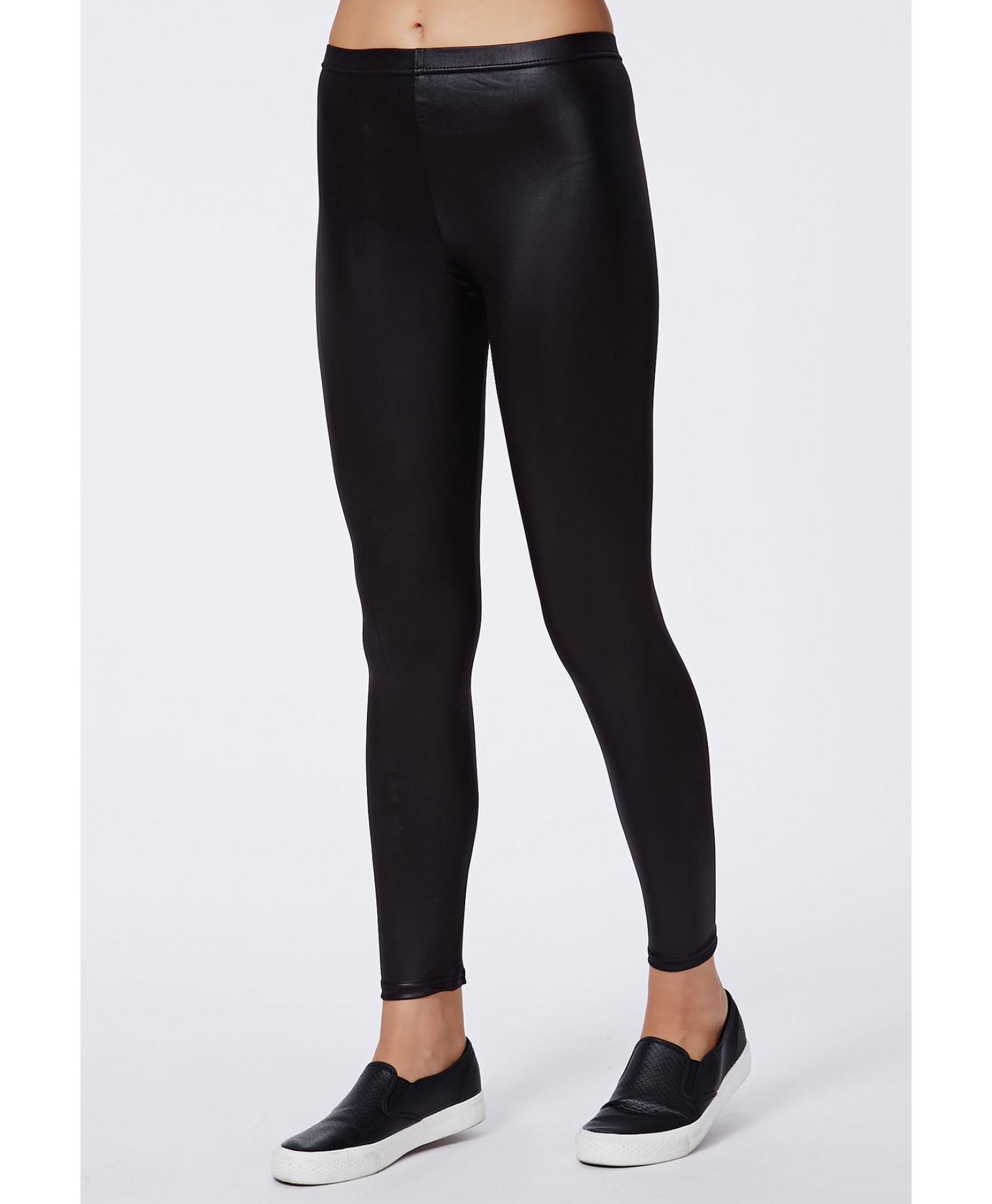 b7ea2efddbb7f1 Lyst - Missguided Clarre Wet Look Leggings in Black
