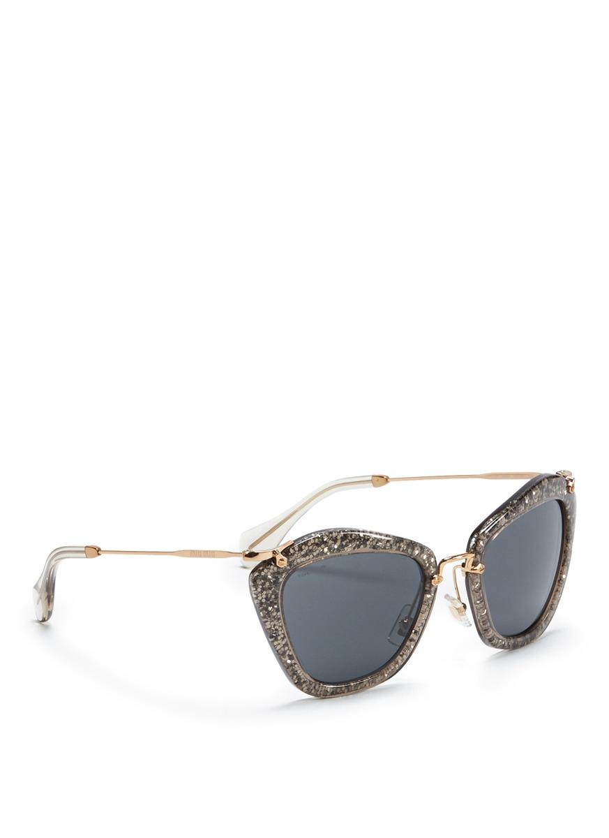 214c5281aeec Miu Miu Grey Glitter Sunglasses - Bitterroot Public Library