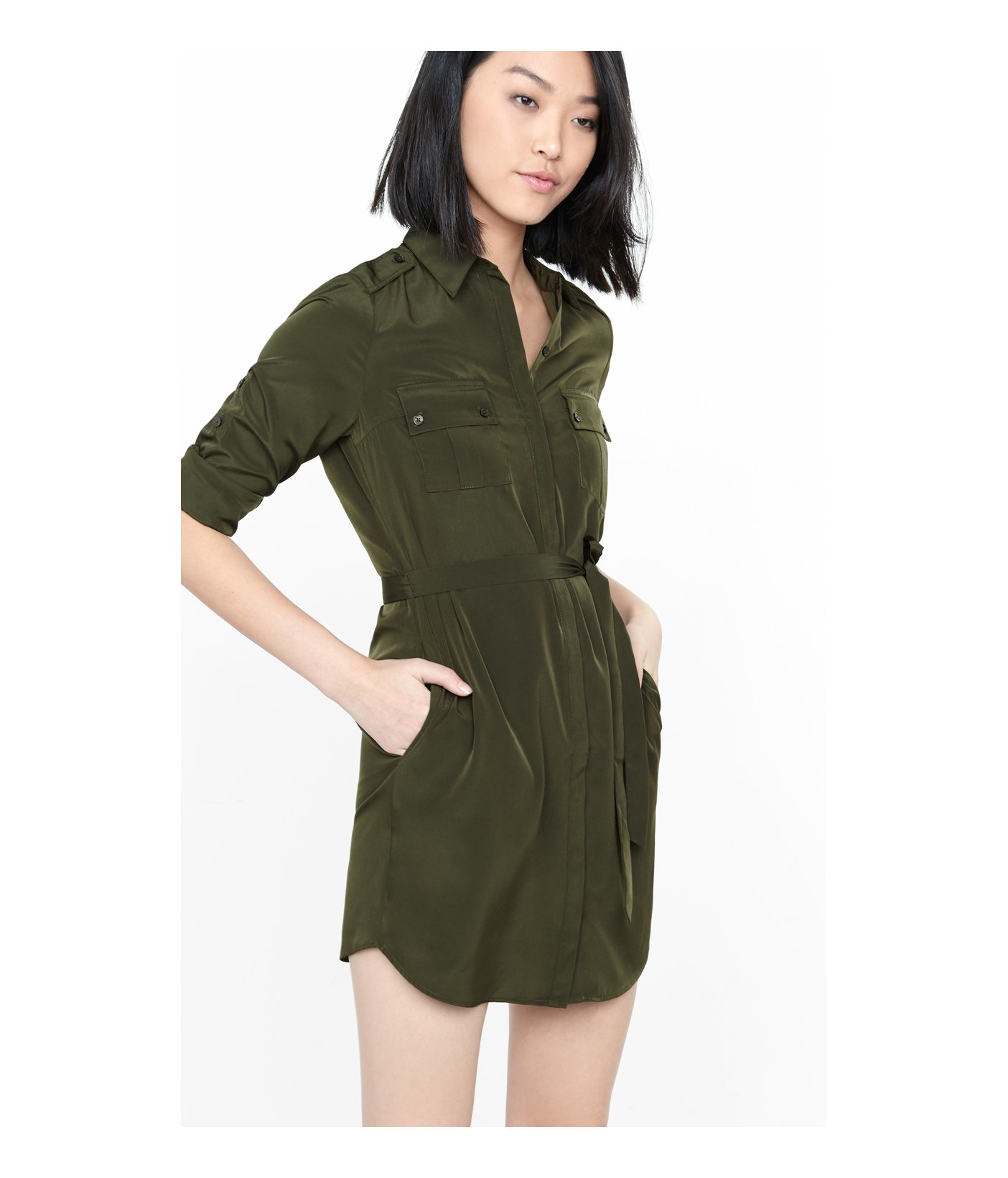 e155778cb7 Lyst - Express Olive Military Shirt Dress in Green